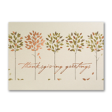 Golden Thanksgiving Trees - Thanksgiving Card
